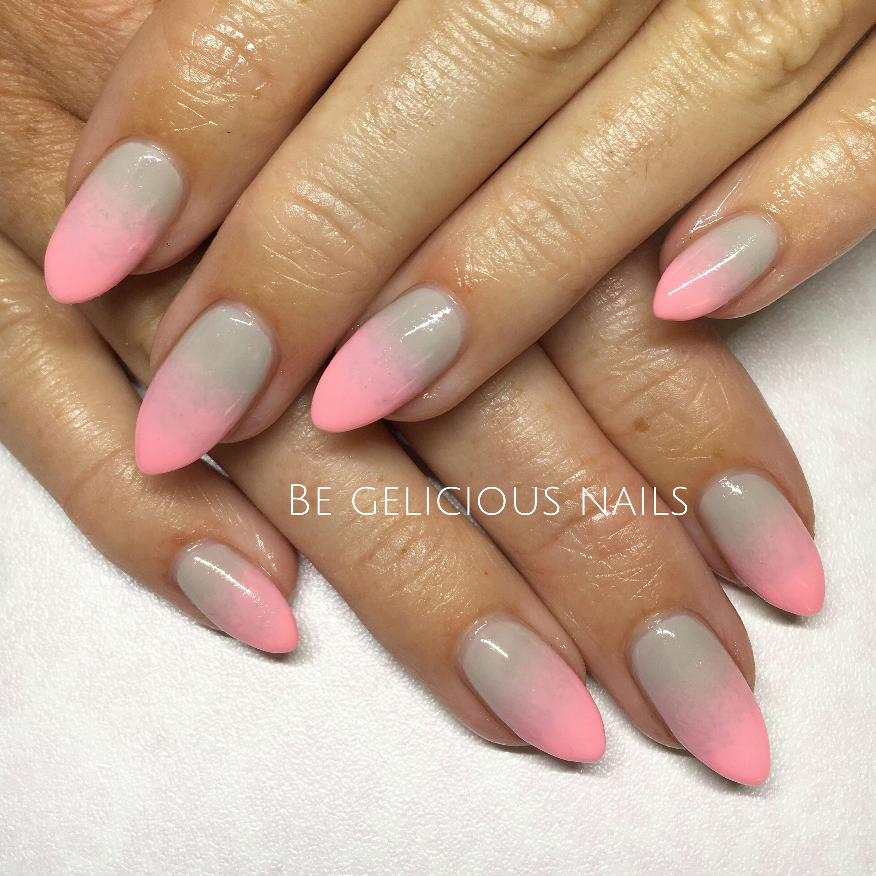 Calgel Nails Gel Ombr Nail Art Nail Design Pink Grey Pointy