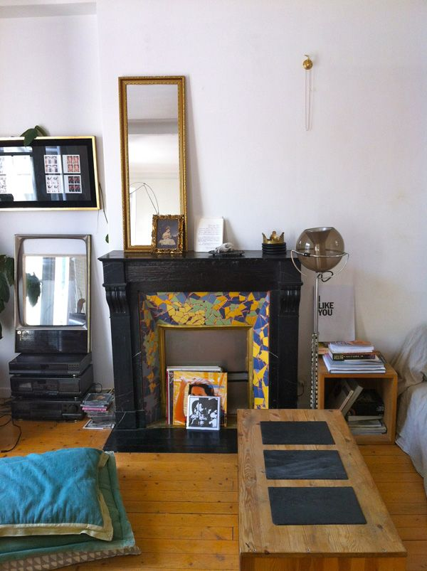 Perfection Fireplace Part - 28: Mosaic Tiled Fireplace, Eclectic Decor, Bohemian Apartment Perfection In  Paris.