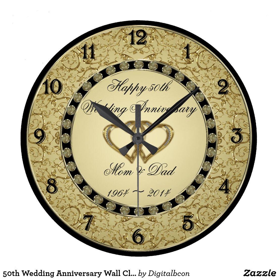 50th Wedding Anniversary Wall Clock Zazzle Com In 2020 Golden Wedding Anniversary Golden Wedding Wedding Anniversary