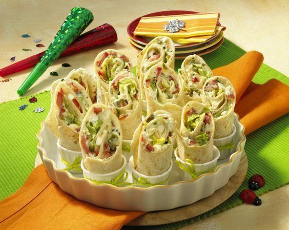 Mini-Wraps mit Schafskäse-Füllung #partyappetizers
