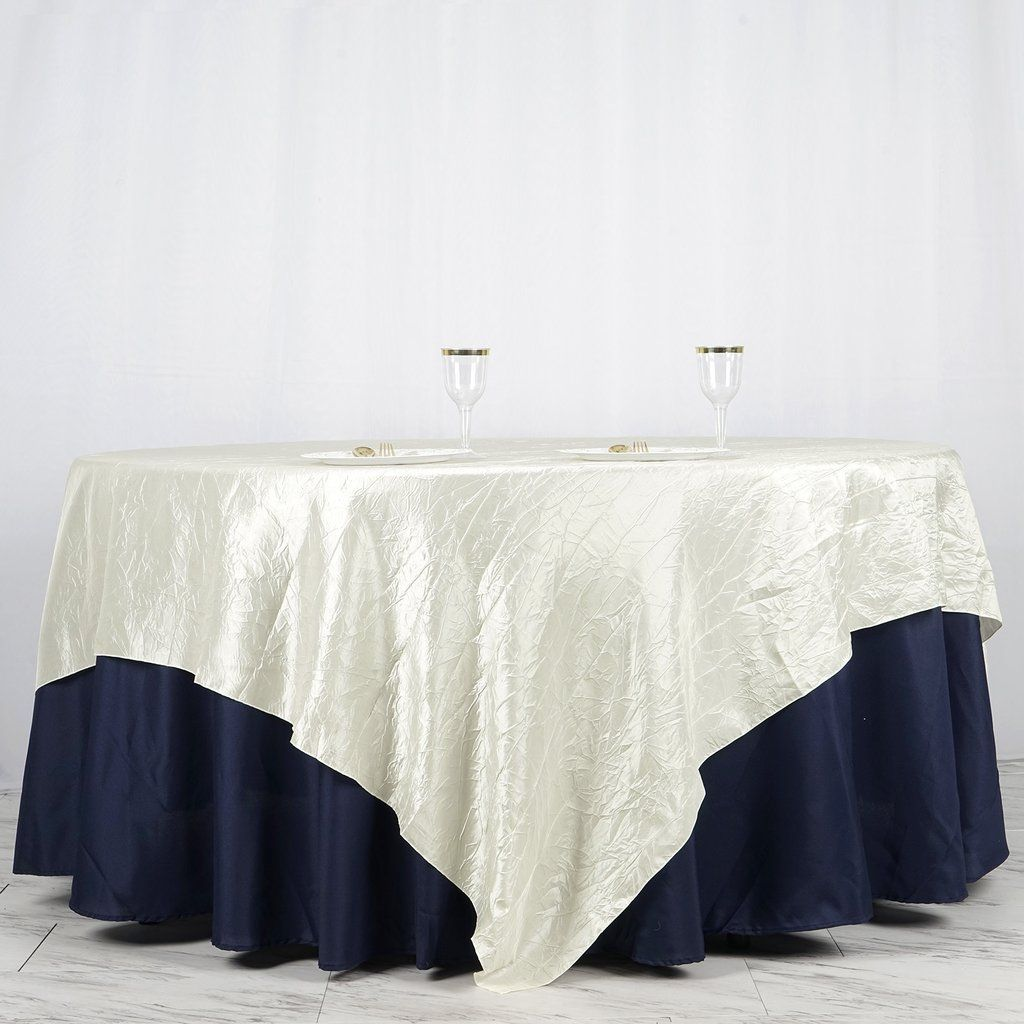 90 X 90 Ivory Crinkle Crushed Taffeta Square Tablecloth Overlay