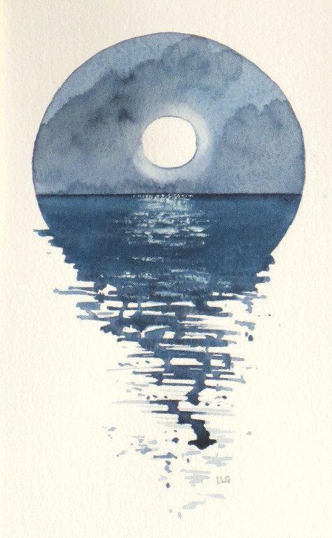 Full Moon Over The Ocean Watercolour Vignette Pinturas De