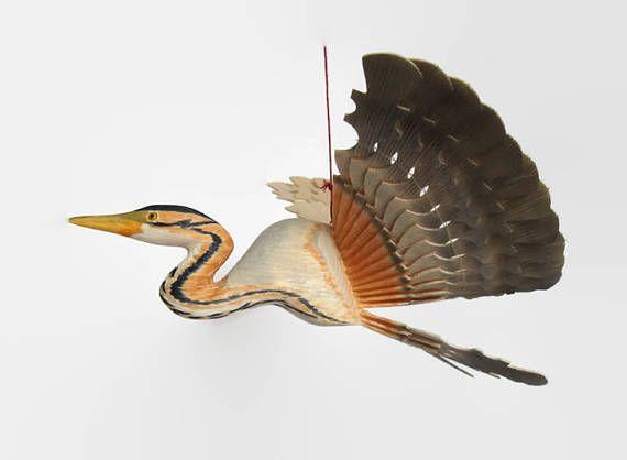 Purple Heron Wood Mobile Fan Bird Carving Folk Hobby