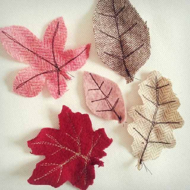 Fabric leaves. Would look nice in a picture frame