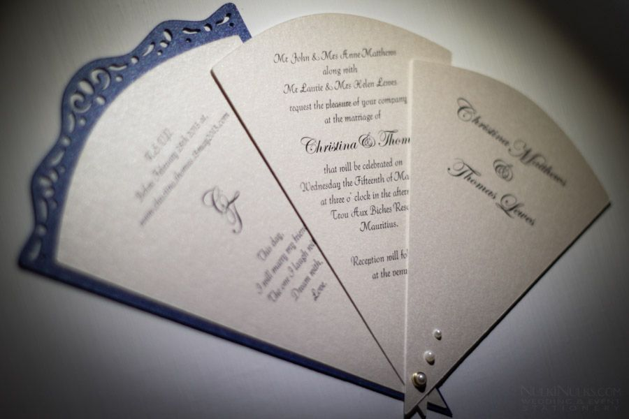 Fan Shaped Wedding Invitation With 3 Cards Elegant Theme