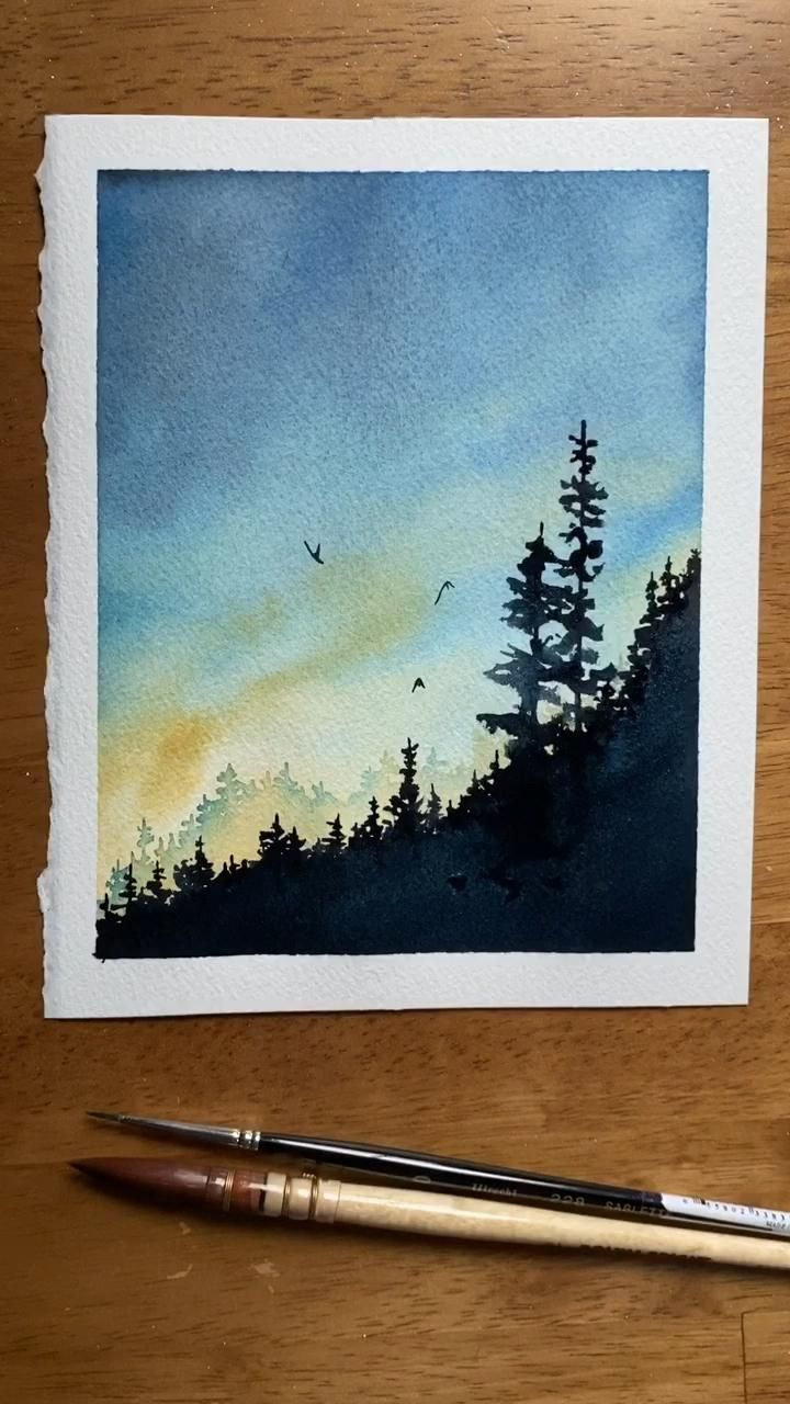 Photo of Watercolor wilderness painting