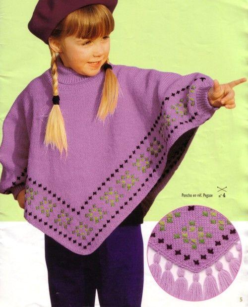 modele de poncho a tricoter pour enfant