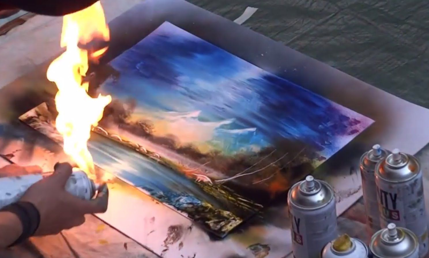 Amazing Spray Paint Art: Fire Technique! (With images ...