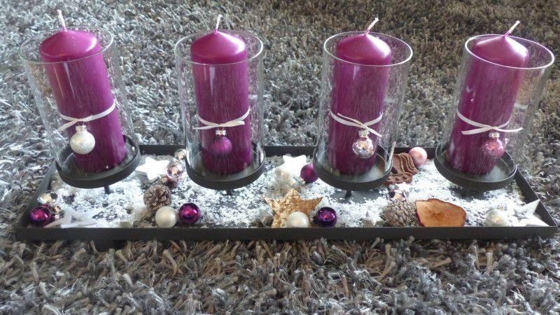 #DIY #Adventskranz #modern #lila #Schnee #Sterne #Kugeln #Advent