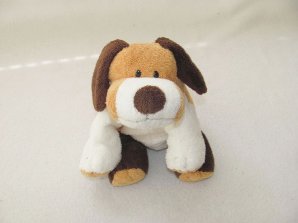 2002 Ty Pluffies Brown Tan Beagle White Whiffer Puppy Dog Plush