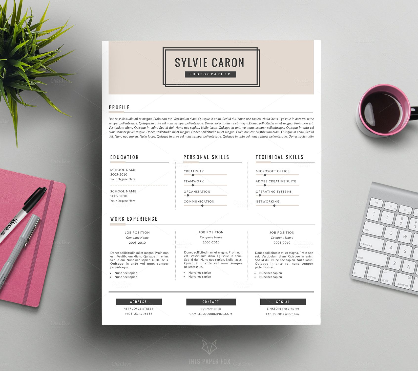 Hipster Cv Template For Ms Word By This Paper Fox On Creative