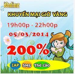 iOnline tặng 200% giá trị thẻ nạp http://taigameionline.vn/