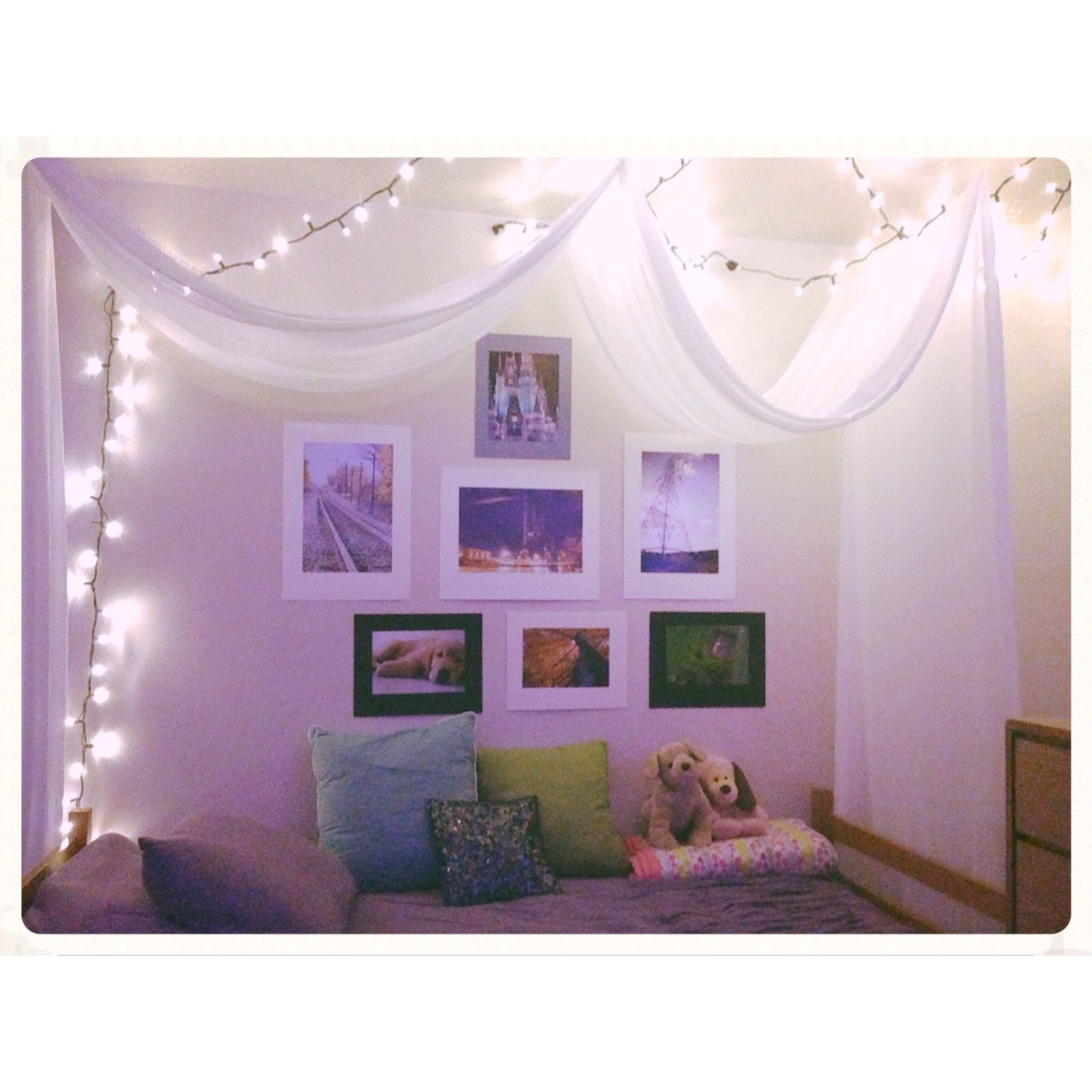 christmas lights, diy canopy, and pictures to help decorate my