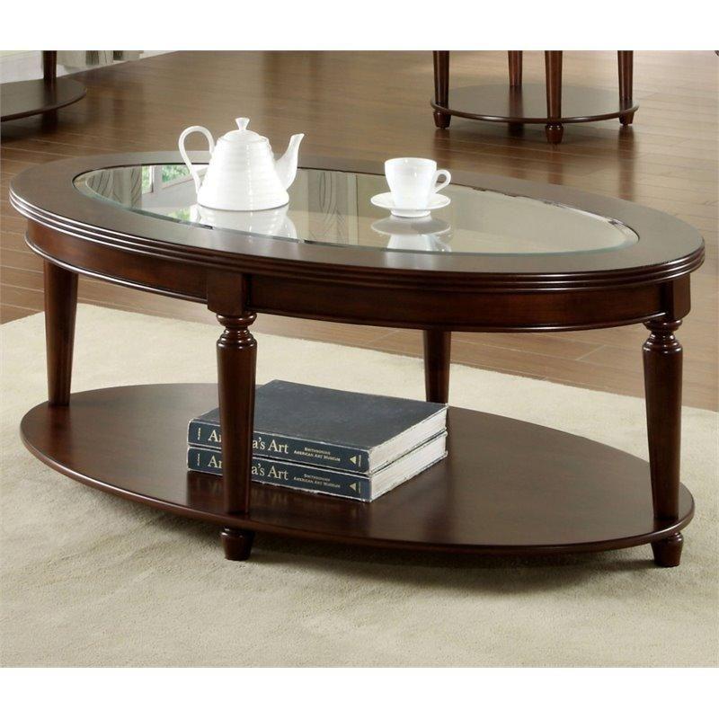 Furniture Of America Chrinus Oval Coffee Table In Dark Cherry