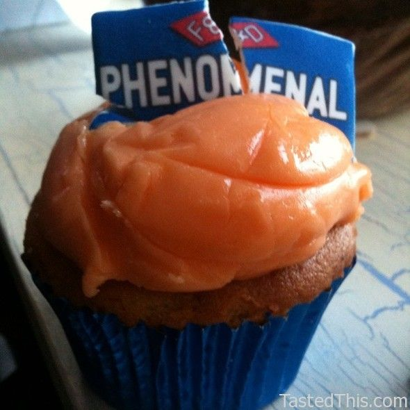 """Irn Bru Cupcake    The try nirvana of cupcakes in Scotland. Take """"our other national drink"""" and make it into a cake. All that's missing is to coat it in batter and deep fry it!!!    Irn Bru Cupcake at Fisher & Donaldson in St. Andrews, Fife    13 Church Street St. Andrews, Fife, United Kingdom"""