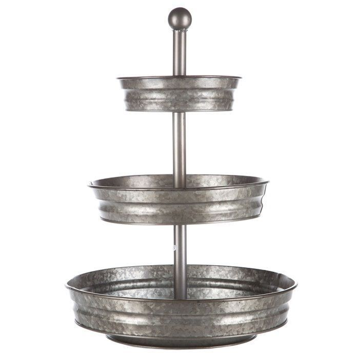 Details About Round Galvanized Metal Serving Stand 3 Tier Tray Office Supplies Food Storage Galvanized Tray Galvanized Tiered Tray Tiered Stand