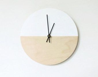 Modern Wall Clock, Wood Clock, White And Wood Home Decor, Housewares, Home