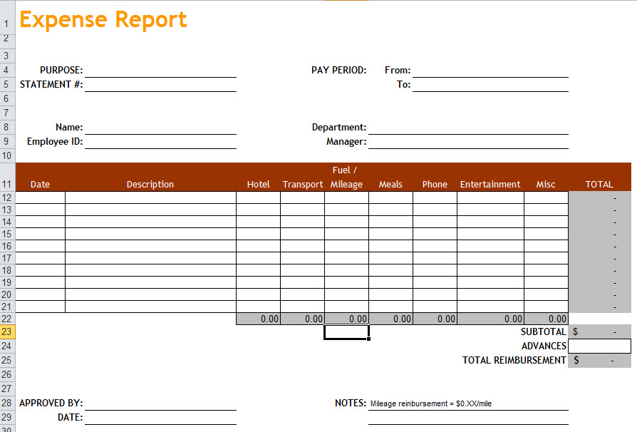 Expense Report Spreadsheet Template 1 Professional Templates