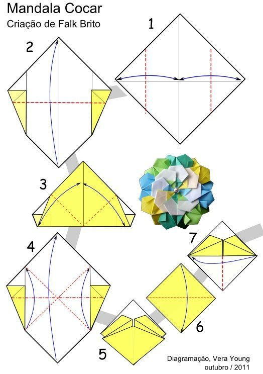 Origami Mandala Cocar Folding Instructions