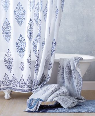John Robshaw Jalati Shower Curtain Blue Towel Collection
