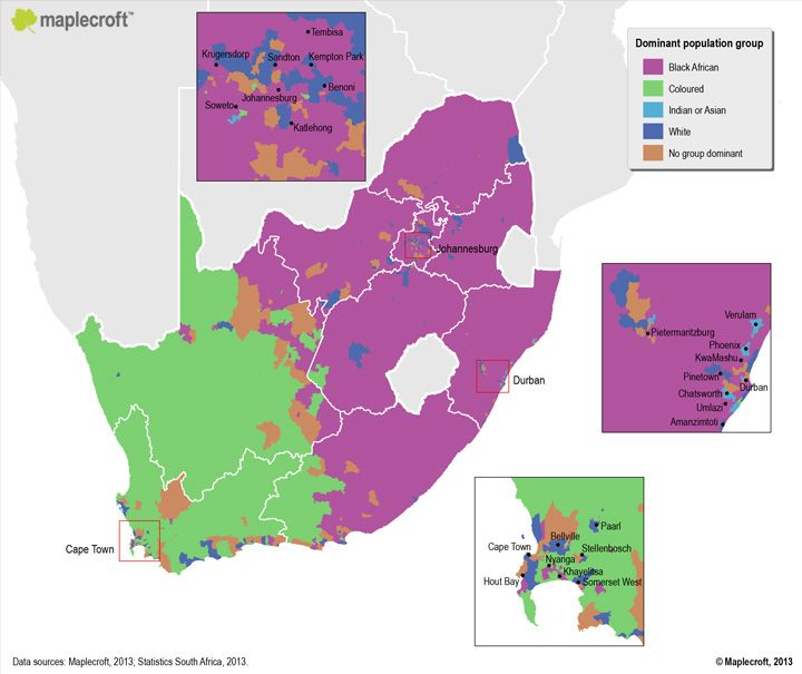 South Africa's Ethnic Demographics | Maps | Map, Historical maps