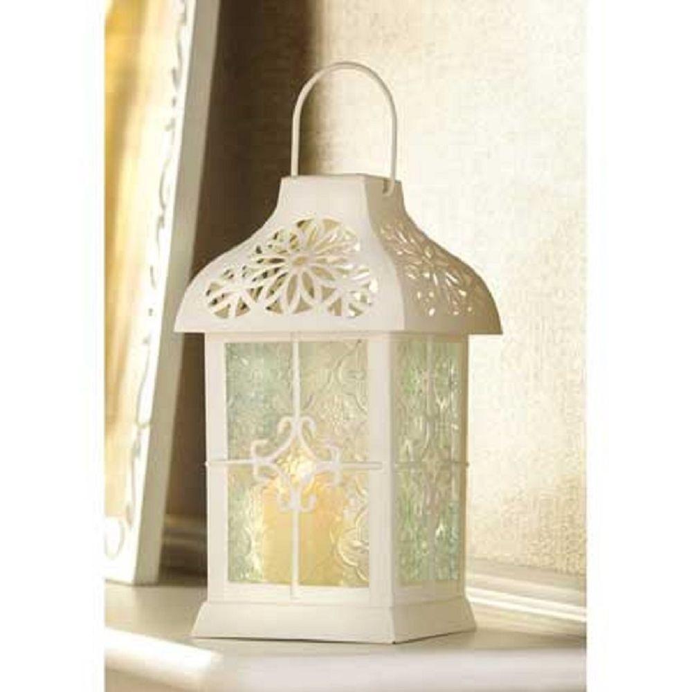 Iron & Glass Daisy Gazebo White Victorian Style Garden Candle ...