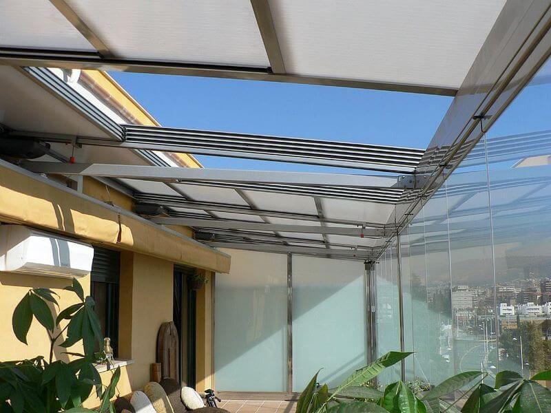 Coberti techo m vil de policarbonato en terraza techo - Techo transparente policarbonato ...