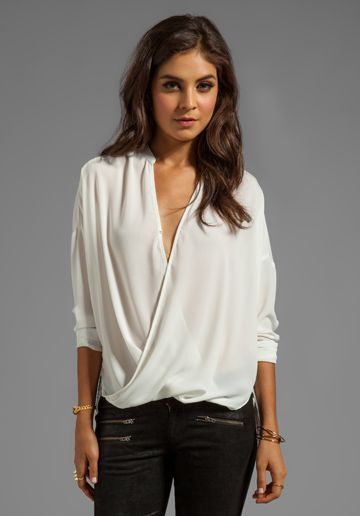 e64167f86953da Wrap blouse, Blouses and Wraps on Pinterest | outfit ideas | Fashion ...