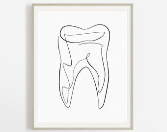 One Line Teeth Drawing, Abstract Molar Print, Medical Dentist Art, Mouth Illustration Artwork, Modern Doctor Office Decor, Tooth Printable.