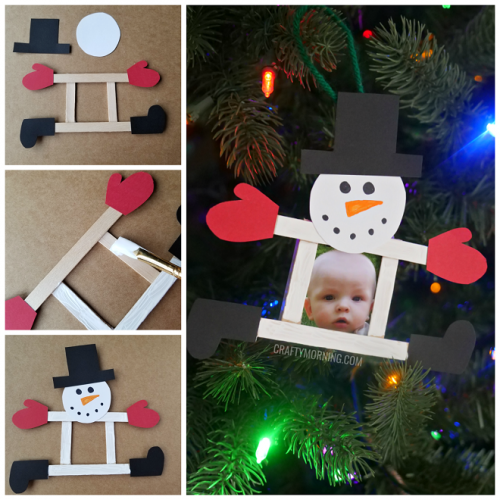 Popsicle Stick Photo Snowman Ornament - Crafty Morning