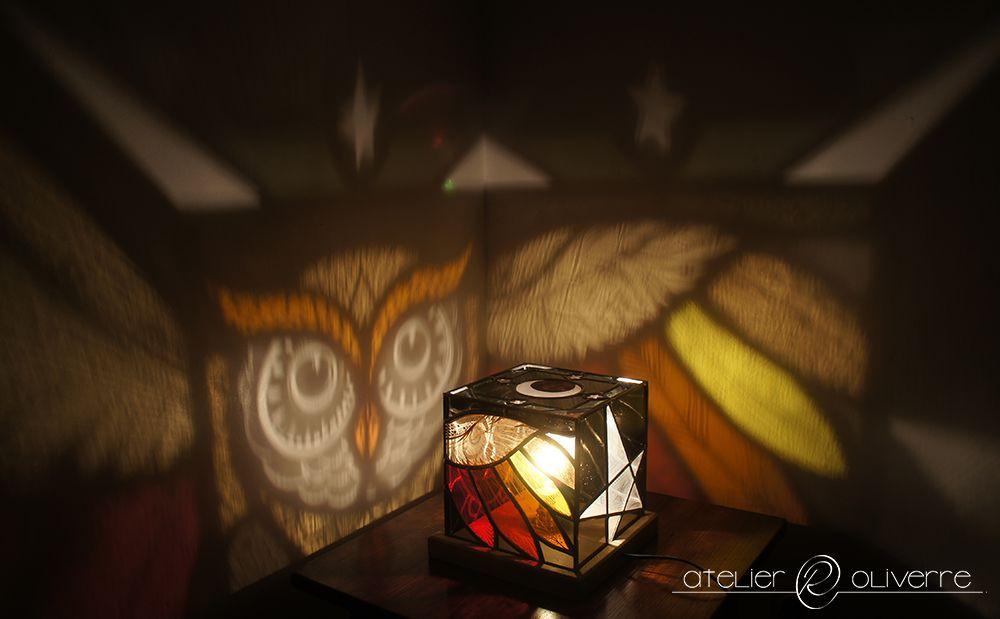 Lampe Chouette Vitrail Stained Glass Vitrail Contemporain Vitrail Peinture Sur Verre
