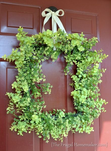 Front Door Decor · Green Square Wreath