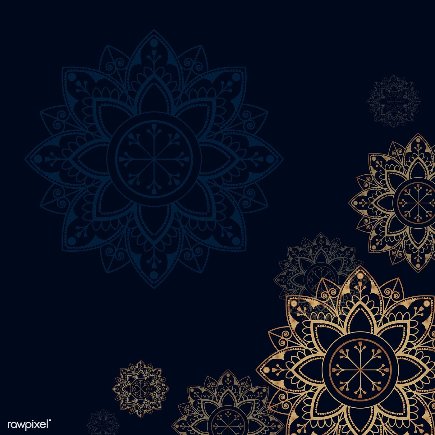 Download Premium Illustration Of Gold Mandala On Navy Blue