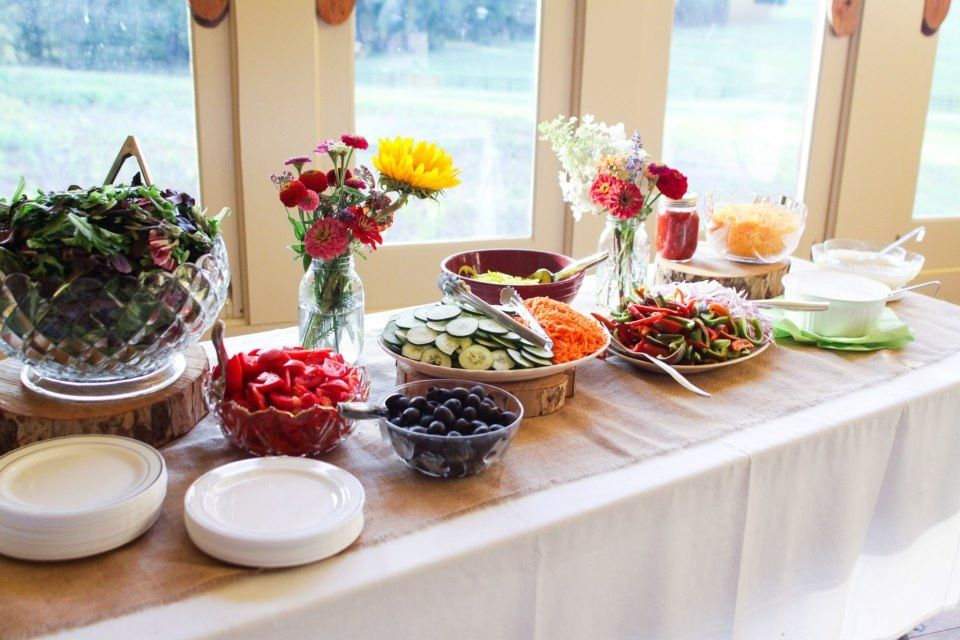 Homemade Dinner From Our Family Farms With DIY Food Table Display Salad Bar