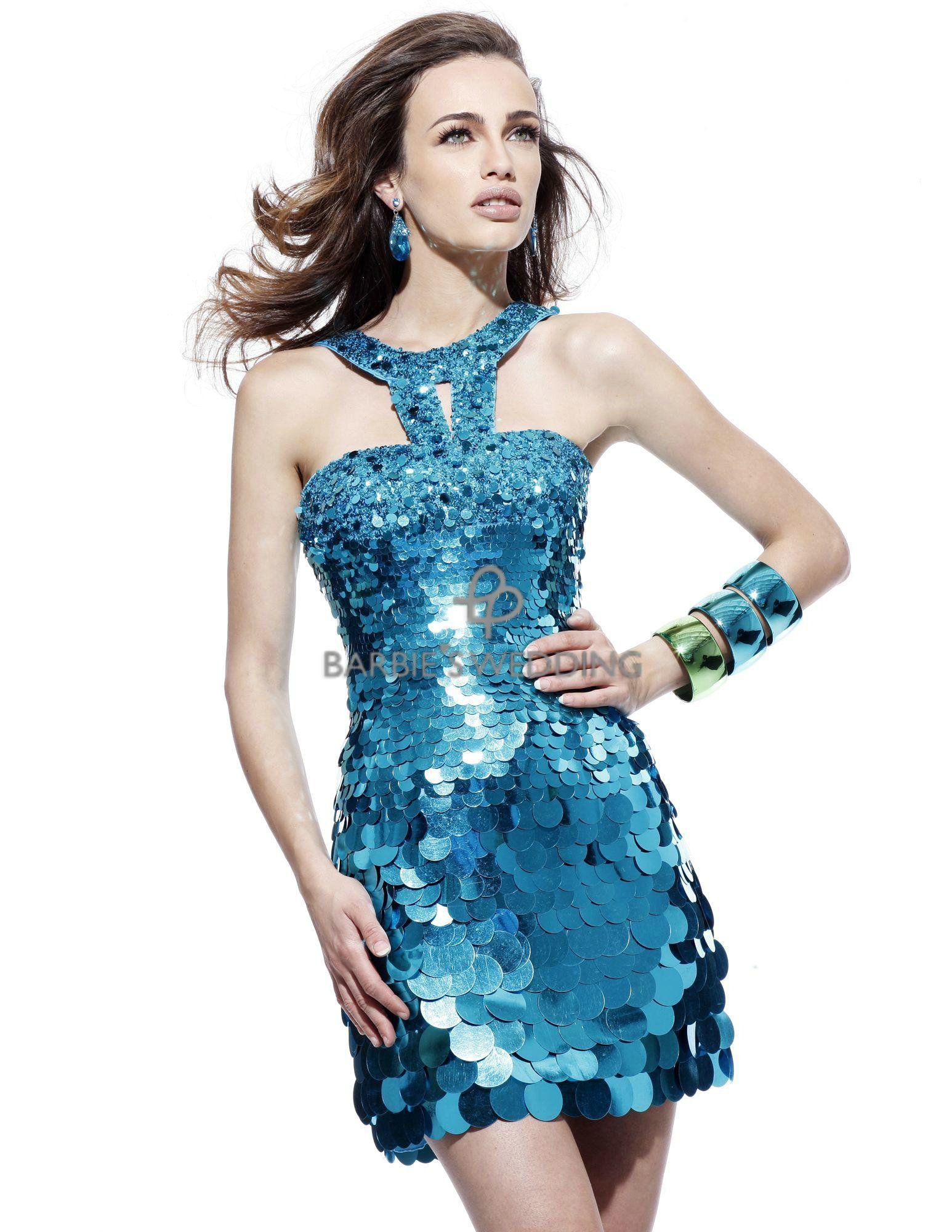 $160.83 shiny navy blue sequined halter dress - http://zzkko.com ...