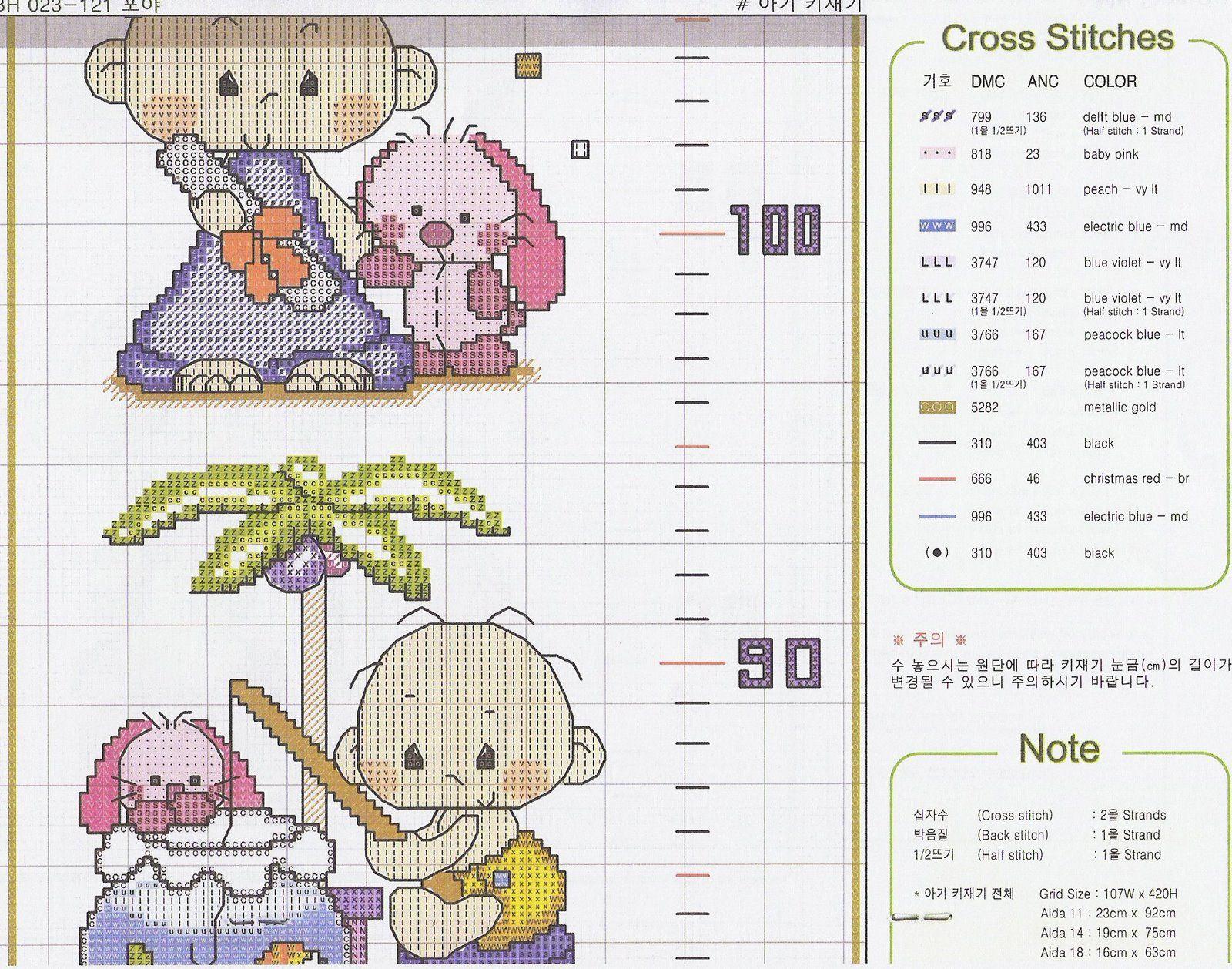 Metro crescita bambini 4 5 punto croce metri crescita for Farfalle a punto croce per bambini