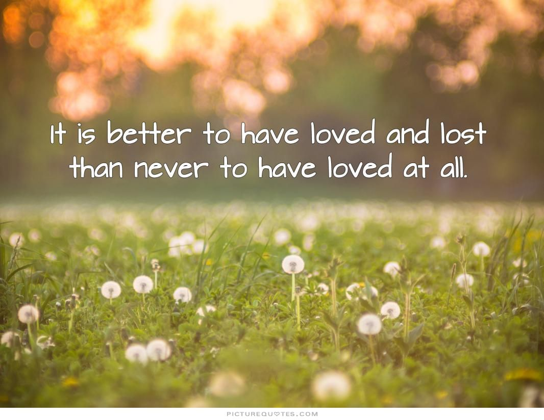 better to have loved and lost than never