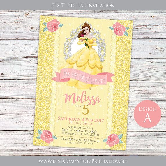 3 Designs to choose from DIGITAL Beauty and the Beast Invitation