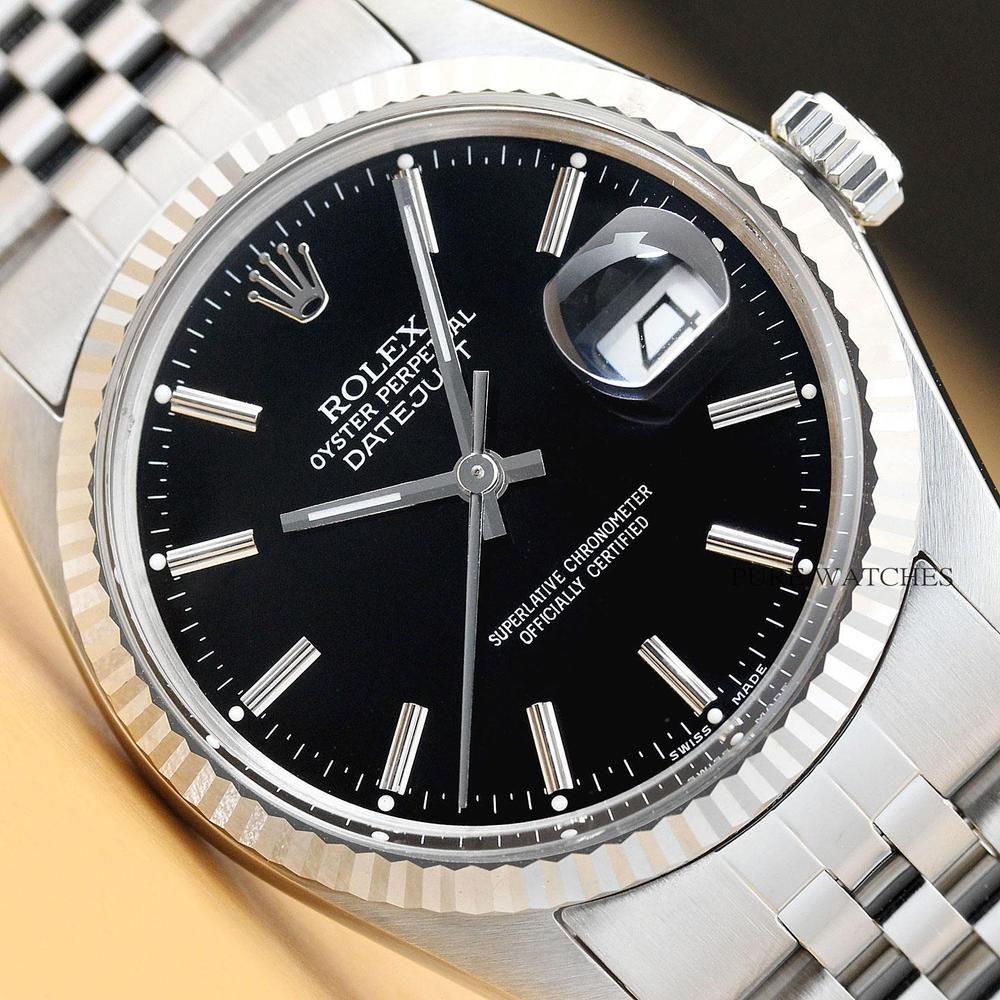 Rolex Mens Datejust 16014 Black Dial 18k White Gold Stainless Steel Watch Rolex Menswatches Watchesformen Rolex Rolex Men Luxury Watches For Men