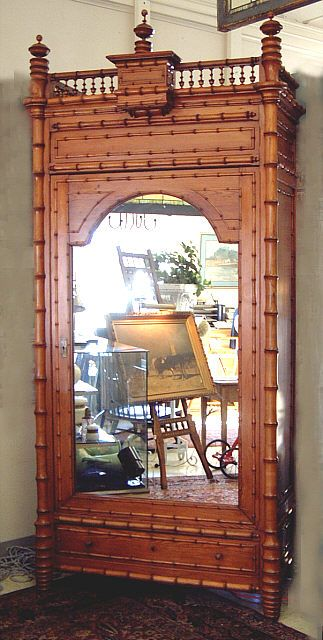 Antique French Faux Bamboo Armoire Ca 1870 Meuble