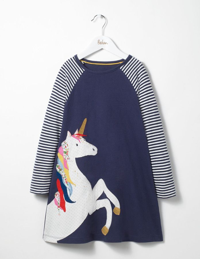 b651d805f Big Applique Jersey Dress by Boden. This sweet unicorn dress is available  in various sizes. #boden #unicorn #dress #unicorndress #affiliate