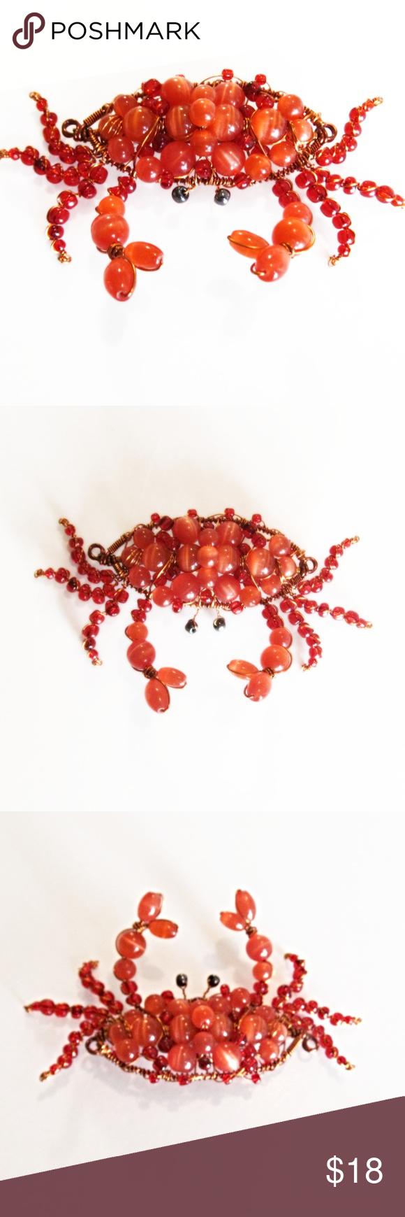 Large Crab Orange Cat Eye Bead Wire Brooch Pin Bead