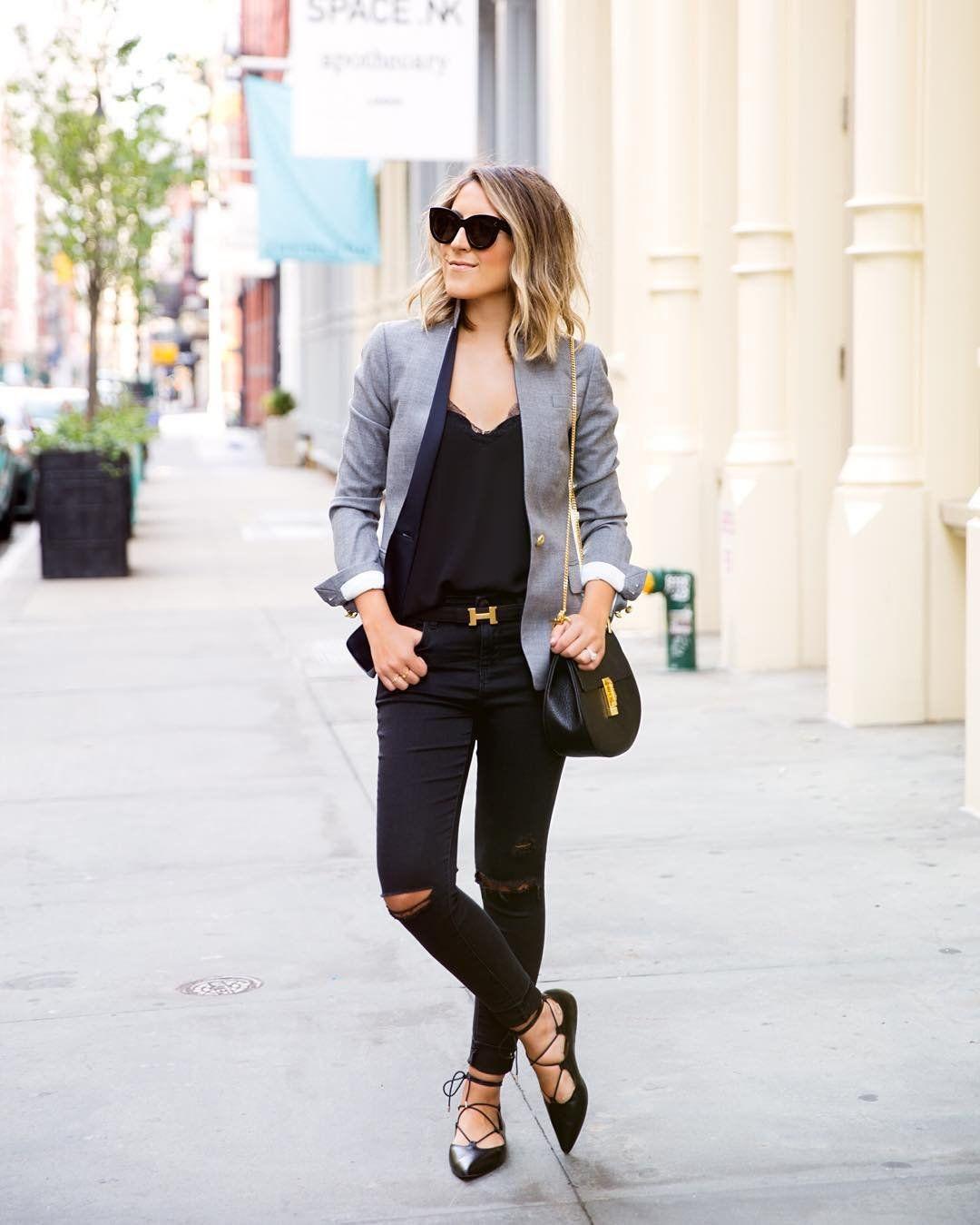 A Gray Blazer a Black TShirt Black Jeans and Black Flats