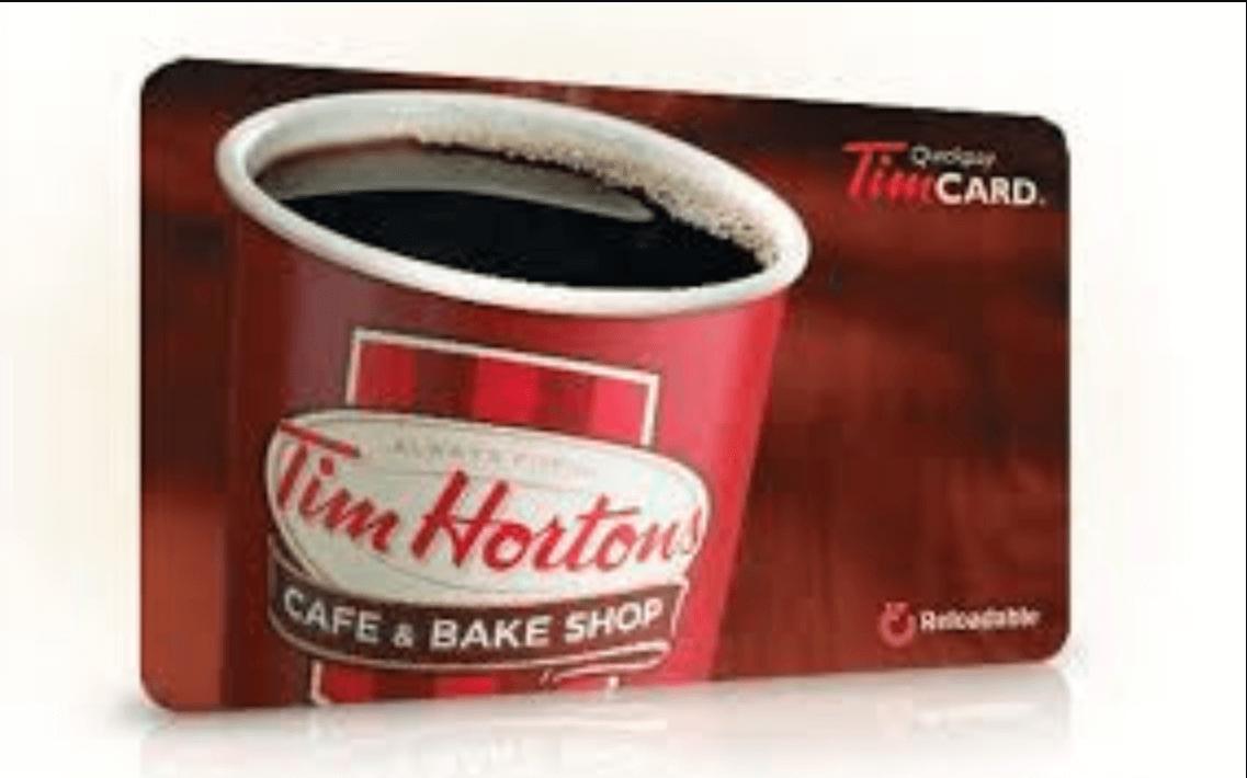 Gagnez une des 4 cartes de Tim Hortons de 25