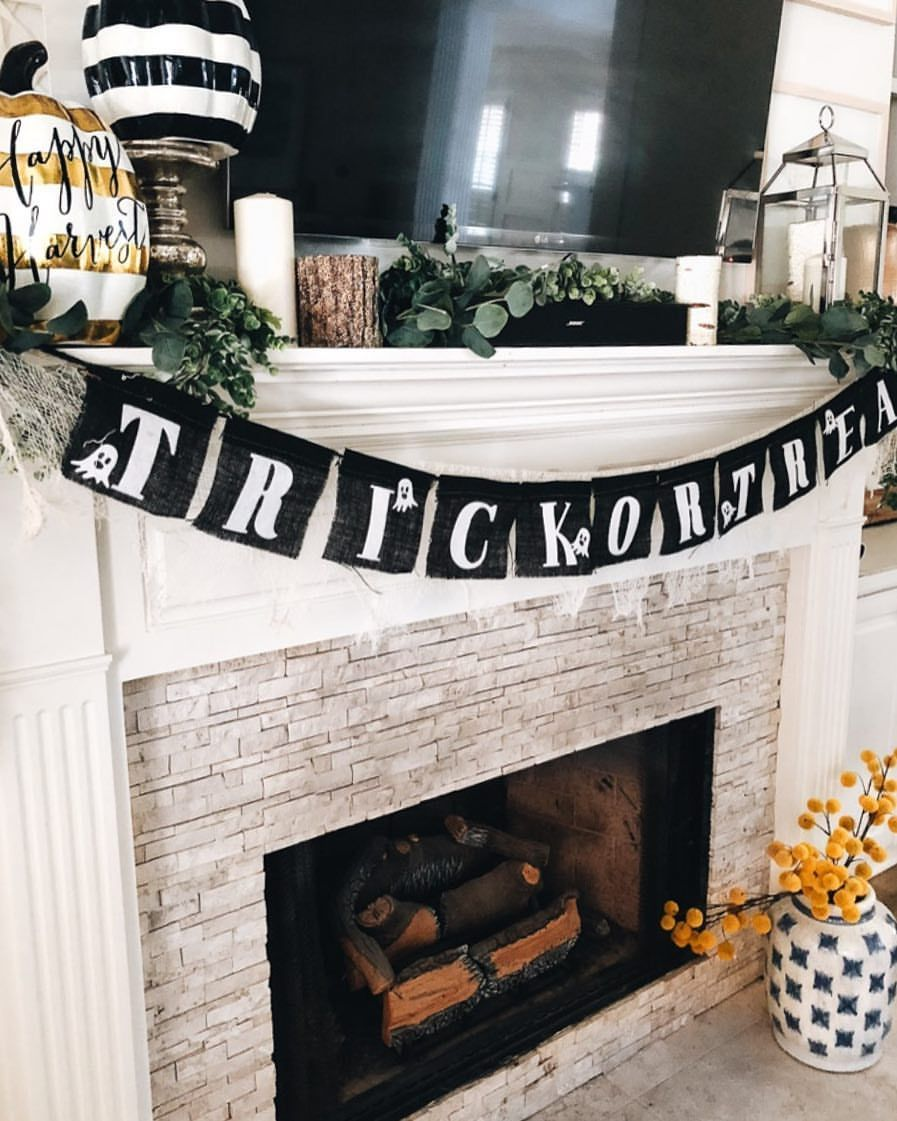 Fall home decor, Halloween decorations How to decorate a mantle for - fall and halloween decorations