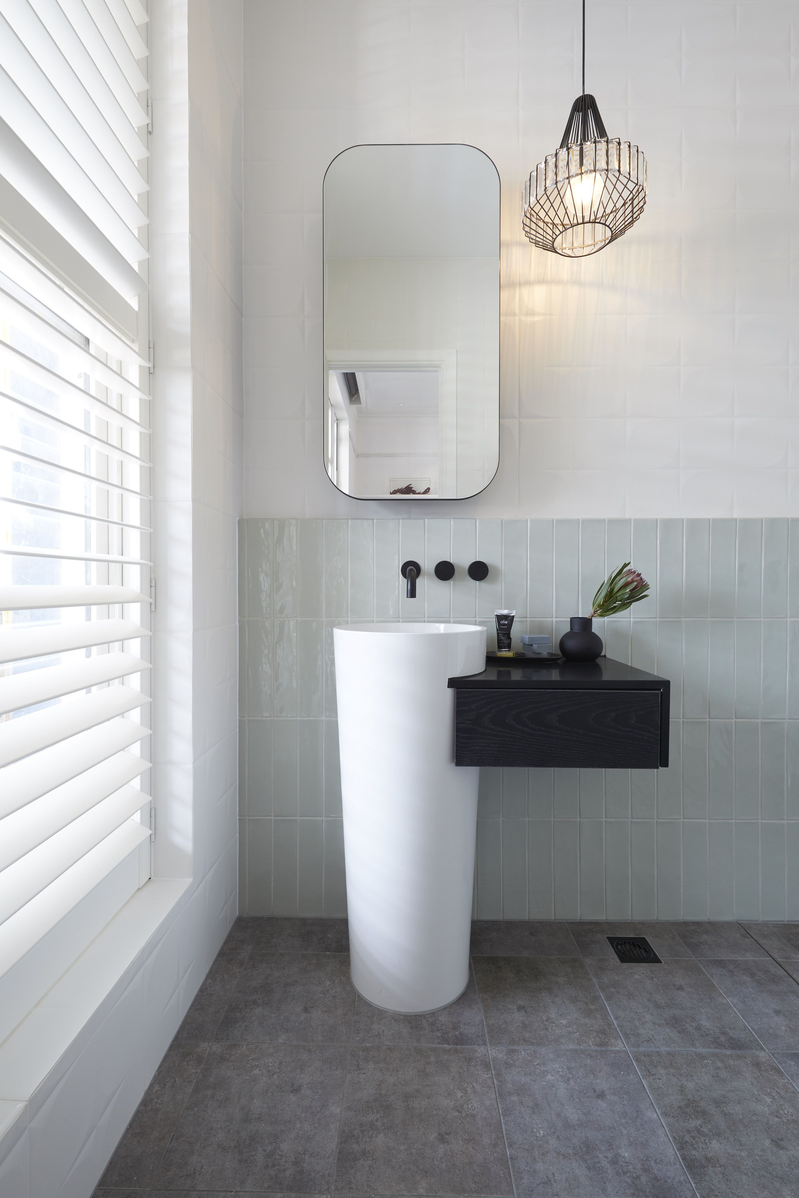 The Block Top Tip Use Vertically Stacked Tiles To Give Height To Small Spaces Ft Our Florencia Seafoam Gloss In 2020 Grey Flooring Ensuite Bathroom Decor