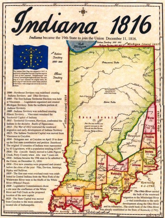 Indiana historical map of 1816 courtesy of ingov INDIANA - courtesy clerk