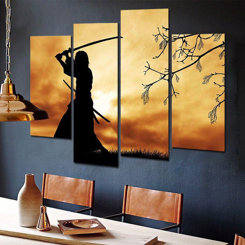 Figure Paintings Wall Art Bushido Spirit Illustration Japanese ...