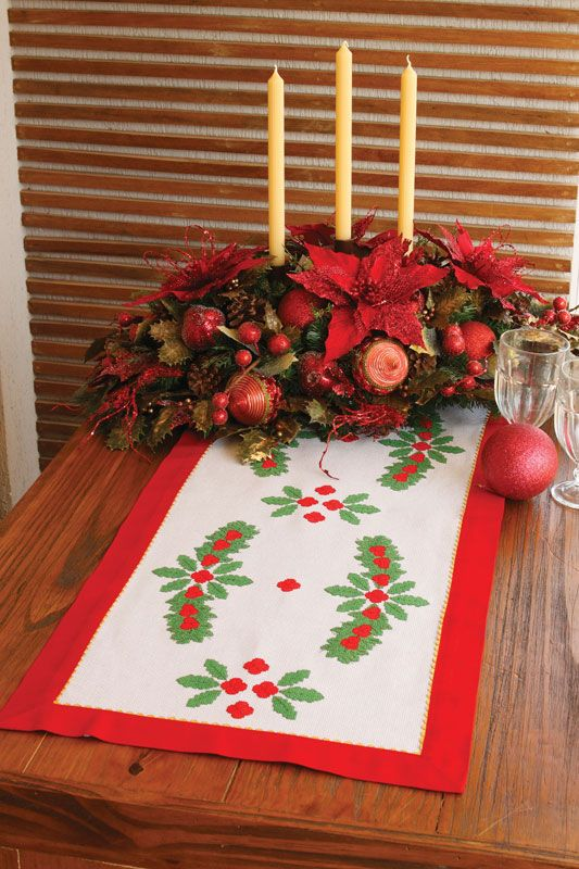 Toalha natalina de ponto cruz - DIY, Christmas, Craft