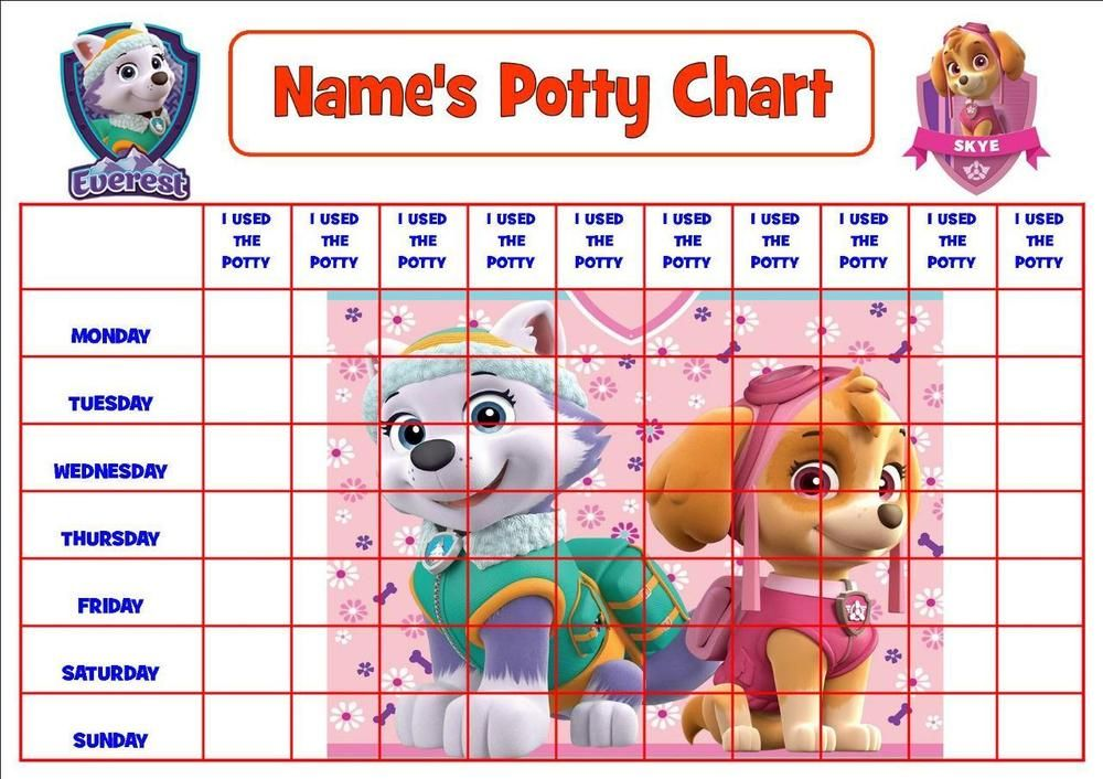 paw patrol pink personalised potty  toilet reward chart stickers certificate